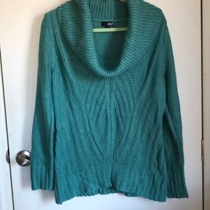 A Ana cowl neck sweater sz l in teal